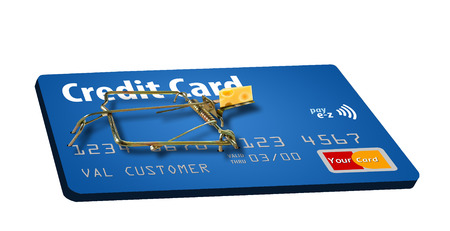 The concept of getting caught in a credit card trap when signing up for a new card is illustrated with a mousetrap baited with cheese. The mousetrap is a credit card with the trap hardware attached. This is an illustration. Stok Fotoğraf - 110316259