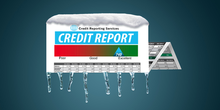 Ice and snow cover a mock credit report in this illustration about a freeze on your credit. A credit freeze is the focus of this illustration. Imagens - 110316270