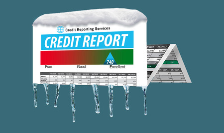Ice and snow cover a mock credit report in this illustration about a freeze on your credit. A credit freeze is the focus of this illustration. Imagens - 110316271