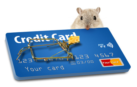 The concept of getting caught in a credit card trap when signing up for a new card is illustrated with a mousetrap baited with cheese. The mousetrap is a credit card with the trap hardware attached. This is an illustration. Stock Photo