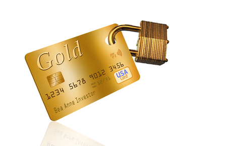 This illustration is of a mock credit card with an attached padlock to represent credit card security. Reklamní fotografie - 110838174