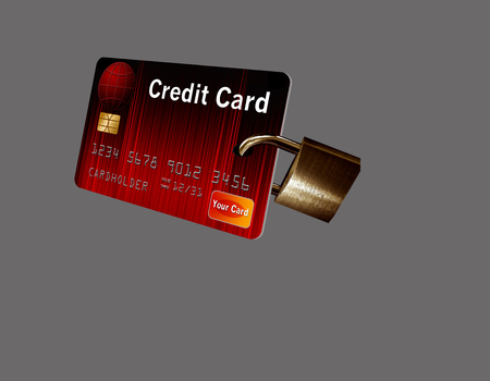 This illustration is of a mock credit card with an attached padlock to represent credit card security. Stok Fotoğraf - 110838177