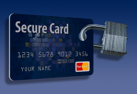 This illustration is of a mock credit card with an attached padlock to represent credit card security. Stok Fotoğraf - 110838187