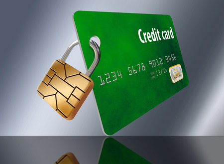 The EMV security chip on credit cards is turned into a padlock on this mock credit card to represent the security the chip provides.