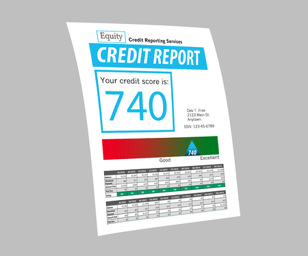 This illustration is of a mock credit report. The score on the report is 740 and generic logos etc. make if safe for publication.