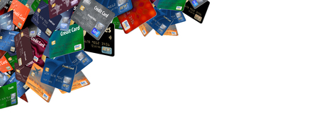 A large number of mock, generic credit and debit cards are seen floating and flying across the page isolated on the background in this illustration. Stok Fotoğraf - 110316494