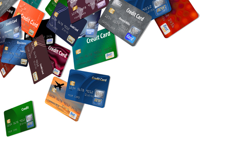 A large number of mock, generic credit and debit cards are seen floating and flying across the page isolated on the background in this illustration.