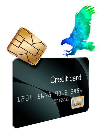 The EMV security chip on credit cards  and a hologram eagle landing on the card are seen in this illustration about credit card security.