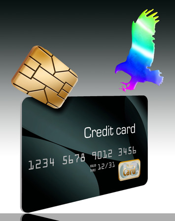 The EMV security chip on credit cards  and a hologram eagle landing on the card are seen in this illustration about credit card security. Stok Fotoğraf - 110838589