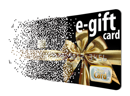A virtual gift card assimilates from a field of pixels to illustrate the virtual aspect of this type of gift card.