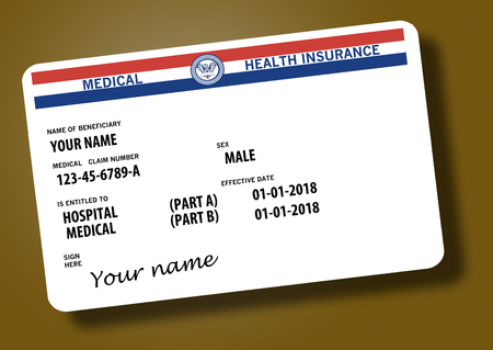 This illustration is a mock, generic U.S. government Medicare Health Insurance card. Isolated on the background. Stock fotó