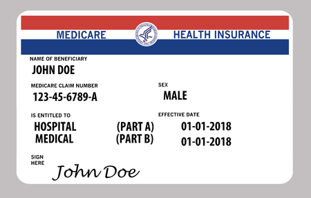 This illustration is a mock, generic U.S. government Medicare Health Insurance card. Isolated on the background. Stok Fotoğraf