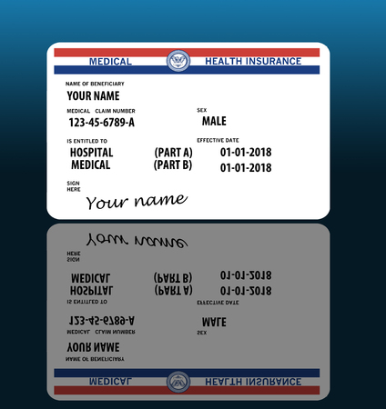 This illustration is a mock, generic U.S. government Medicare Health Insurance card. Isolated on the background. Stock Photo