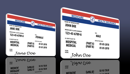 This illustration is a mock, generic U.S. government Medicare Health Insurance card. Isolated on the background. Stockfoto