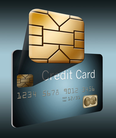 Here is an exploded view of an EMV security chip coming out of a credit card background to give a close up look at the chip.