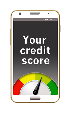 Here is an illustration showing a cell phone with a credit score on the screen.