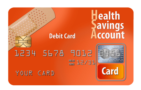 This is a generic HSA Healthcare Savings Account debit card. It is an illustration and is about medical insurance and healthcare.