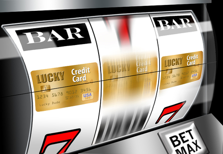 Do your research when looking for a credit card. Dont leave it to chance as illustrated with these credit cards revolving on a casino slot machine. 写真素材