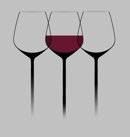 Wine glasses are seen in a modern stylish graphic illustration. Wine in glasses also included. This is an illustration.