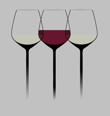 Wine glasses are seen in a modern stylish graphic illustration. Red wine is in one of the glasses. This is an illustration.