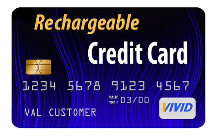 Here is a rechargeable, refillable prepaid credit card. The recharge idea is communicated with a battery charge indicator used as a design on the card. This is a secured credit card.