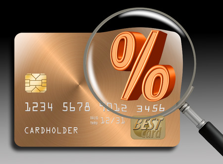 Credit card interest rates, APR, are the subject of this illustration of a magnifying glass over a percent sign on a credit card. Stock fotó