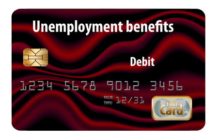 Here is a generic, mock unemployment benefits debit card.