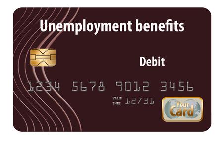 Here is a generic, mock unemployment benefits debit card.
