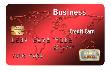 Here is a generic, mock business credit card isolated on a white background.