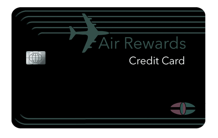 Here is a modern design on a air miles rewards credit card. It shows the card close up with a plane landing in the distance behind the card. This is an illustration.