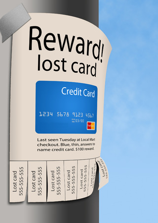 Here is an illustration about the frustration of losing a credit card. This is an illustration. 写真素材