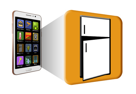 Generic smart home cell phone app icons are seen coming out 3-D from a phone screen.