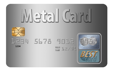 Here is a metal credit card that is mock, generic. Stok Fotoğraf