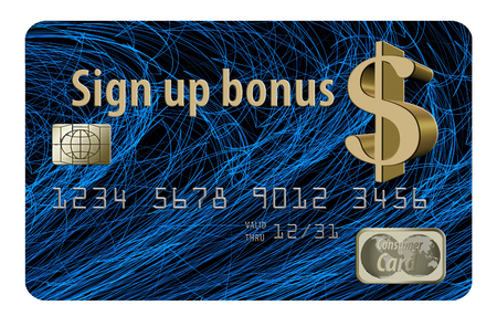 Here is a credit card that offers a sign up bonus. The card is isolated on a white background.
