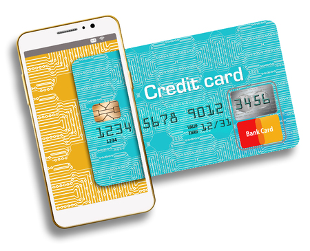 Here is a generic, mock (safe to publish)  credit card combined with a cell phone to illustrate the relationship between the two, such as tap to pay and other functions.