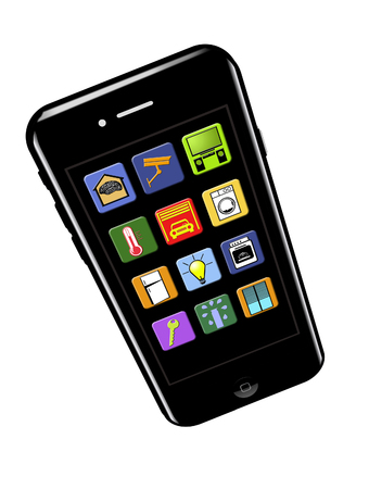 Here is a cell phone with smart home app icons on the screen. Stockfoto