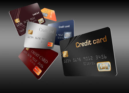 Here are generic, mock (safe to publish)  credit cards in a group that seem to be floating and flying across the page.