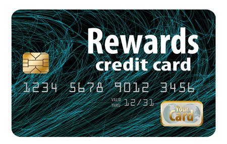 Here is a generic, mock (safe to publish)  rewards credit card. This is an illustration. Stock Photo