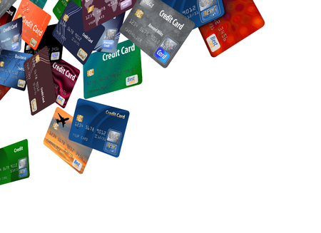 Here is a large group of mock credit cards on a white background.