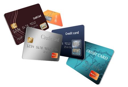 Hier sind generische, simulierte (sicher zu veröffentlichende) Kreditkarten in einer Gruppe, die zu schweben und über die Seite zu fliegen scheinen.
