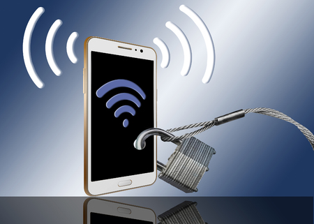 This is an illustration about cell phone signal and wi-fi signal security. A phone is locked with padlocks and cables to secure the signals.