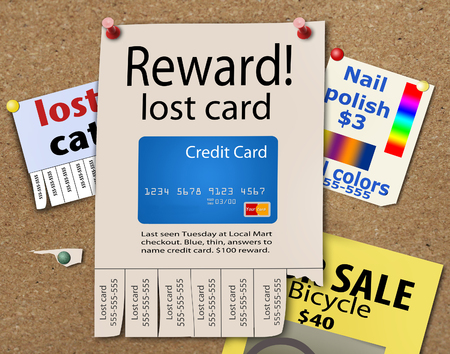 Here is an illustration about the frustration of losing a credit card. This is an illustration. Stock Photo