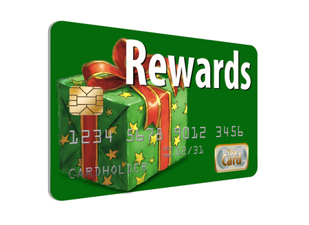 Here is a holiday rewards credit card isolated on white.