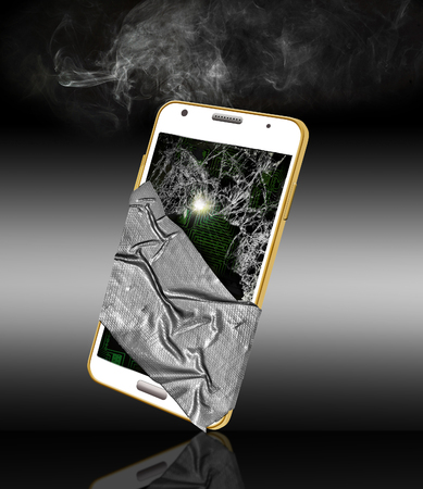Here is a broken, dropped and damaged cell phone. Glass is shattered, sparks internally, smokes and is taped together with duct tape. Isolated on background.