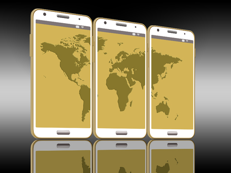 International calling on a cell phone is the subject of this illustration of three cell phones with a world map on the screens.