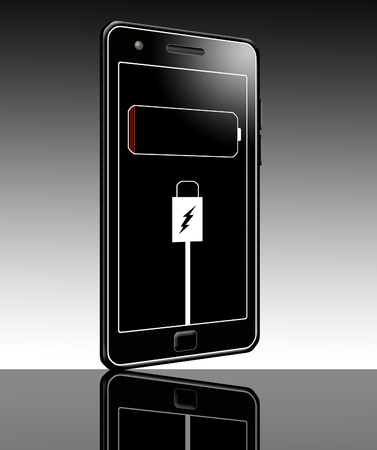 Here is an illustration about charging a cell phone battery. Screen shows a dead battery icon and plug in icons.