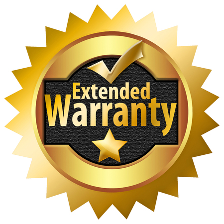Here is a gold and black extended warranty badge, icon, isolated on the background. Stock Photo