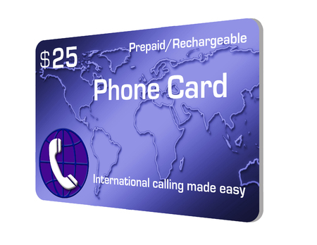 Here is a prepaid cell phone calling card isolated on background. Foto de archivo