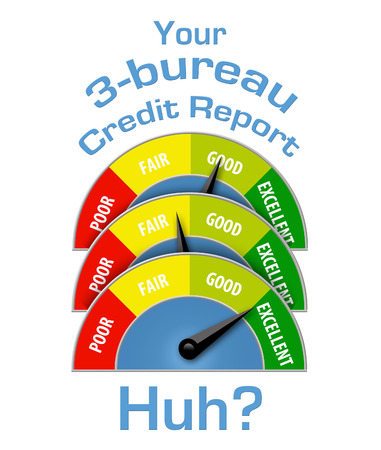 This illustration is about having different credit scores at different credit bureaus. Score meters indicate differences in this illustration. Stockfoto