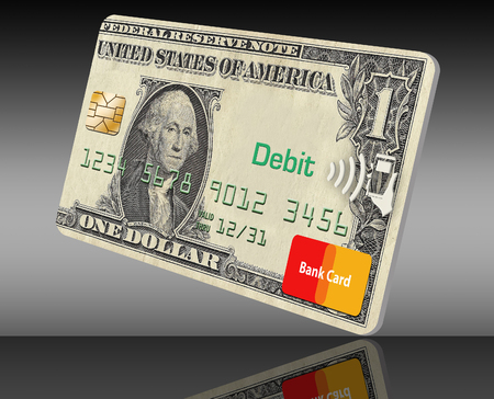 This illustration is about going cashless, not carrying cash. Credit card only is the way to go and this illustration shows a card made with a dollar design on the card. Stock fotó